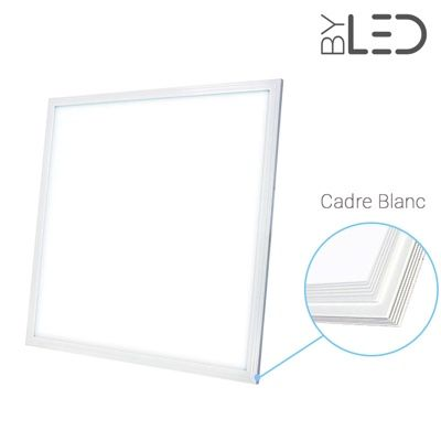 Dalle LED 600x600 43W – blanc pur 6000K – Cadre blanc - PANEL-43