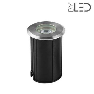 Spot LED encastré de sol rond inox 1W - 230V - QINOX 62 mm