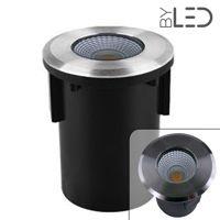 Spot LED encastré de sol rond inox 3W - COB - 230V - QINOX 92 mm