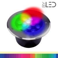 Spot LED encastré de sol inox 12V 12W - Terra 12 – RGB + Blanc chaud