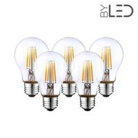 Lot de 5 ampoules LED à filament - Blanc Chaud – 6W - E27 - Dimmable - A60