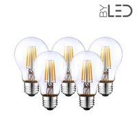 Lot de 5 ampoules LED à filament - Blanc Chaud – 6W - E27 - Dimmable - A60