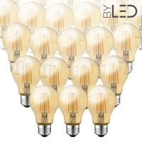 Lot de 20 ampoules LED à filament - Ambrée – 6W - E27 - Dimmable - A60