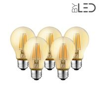 Lot de 5 ampoules LED à filament - Ambrée – 6W - E27 - Dimmable - A60