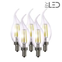 Lot de 5 ampoules LED à filament Flamme - Blanc Chaud - E14 – 4W - Dimmable - C35