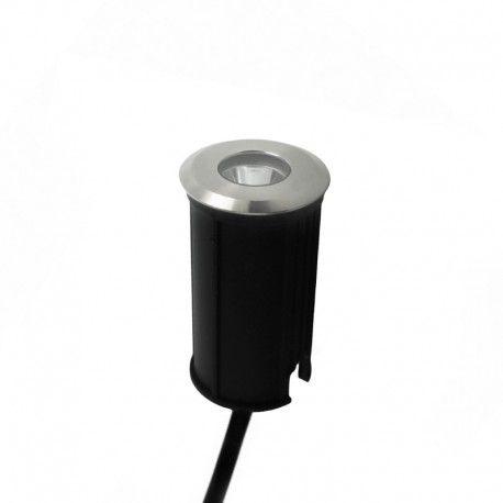 Spot LED encastré de sol focalisé inox 1W - 230V - QINOX 42mm