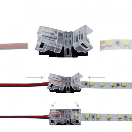 Connexion rapide ruban LED Mono IP20 - Cable 8 mm - 2p