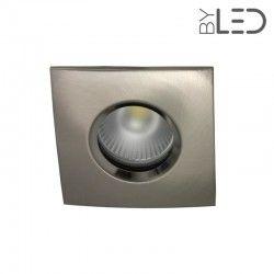 Pack collerette carrée chanfrein SPLIT - Nickel satiné + support + GU10