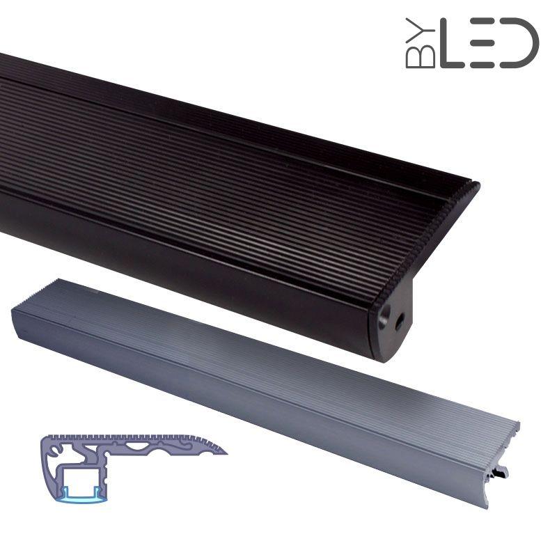 Profile Nez De Marche D Escalier En Aluminium Noir Pour Ruban Led