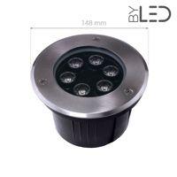 Spot LED encastré de sol inox 230V 6 W - Terra 6 - Blanc