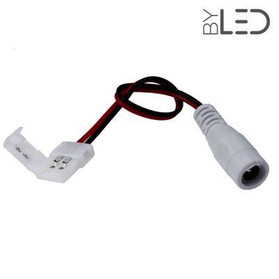 Connecteurs ruban LED 8 mm - Click + câble 15cm + plug Femelle